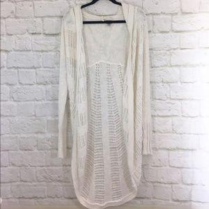 Anthropologie Sweaters - ANTHROPOLOGIE Hooded Openwork Sweater Cardigan N10